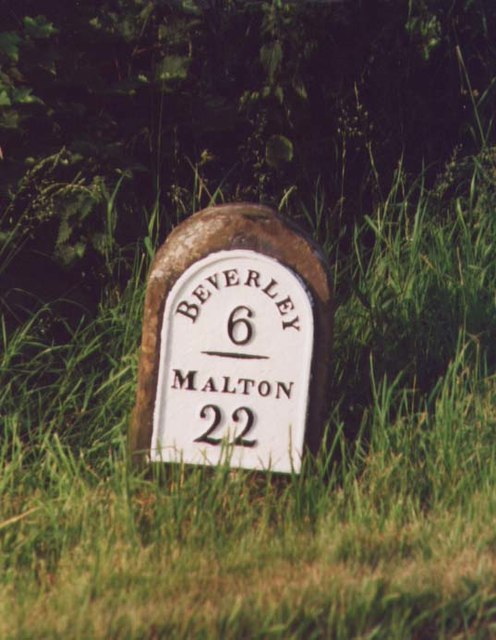 Old Milestone by the B1248, north of Holme on the Wolds