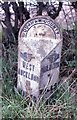 NZ2122 : Old Milepost by the A68 at Houghton Bank by Milestone Society