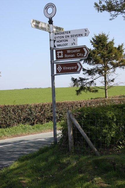 Old Direction Sign - Signpost  by the B4380 at Wroxeter