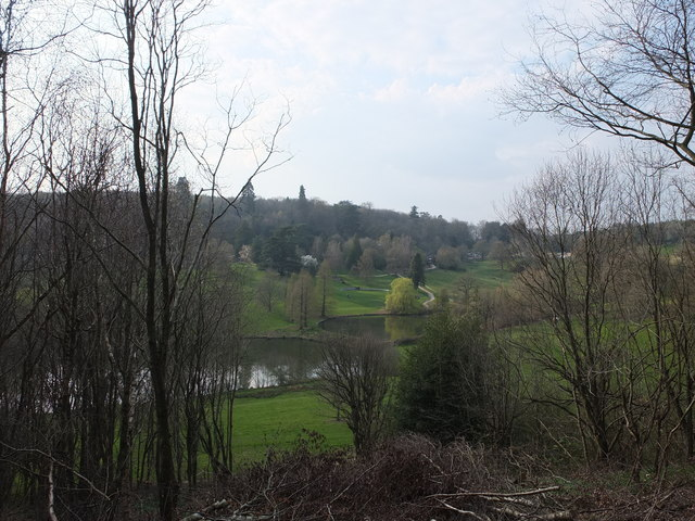 View over the lakes at Chartwell from the woods