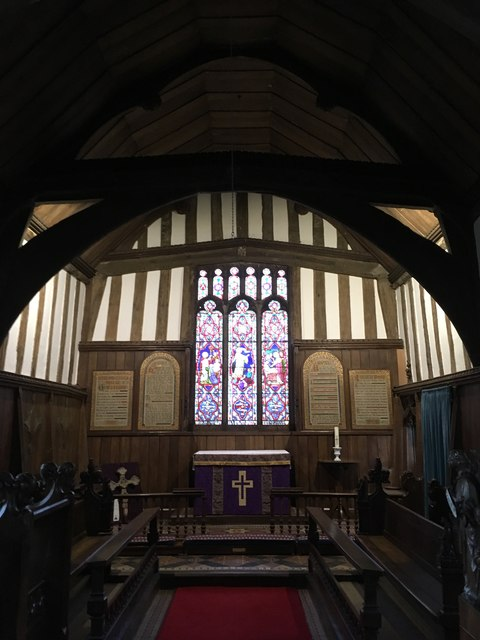 The chancel and East window, All Saints church, Crowfield