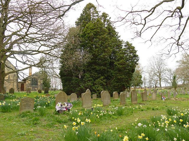 Grave markers in St John's churchyard, Adel