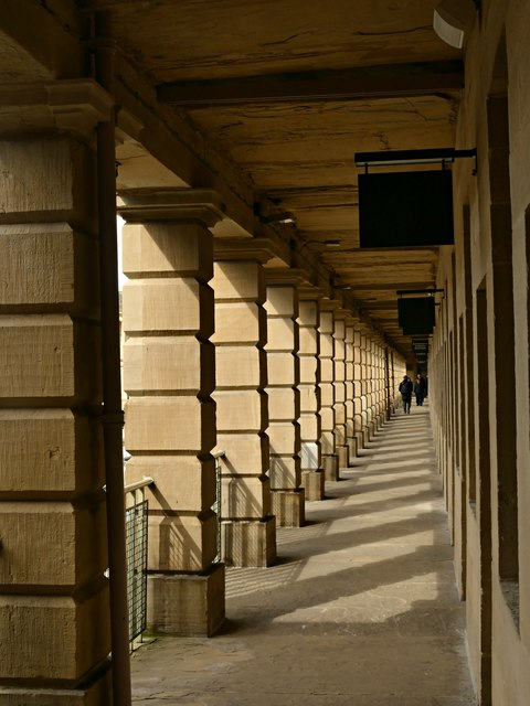 Covered walkway at Piece Hall