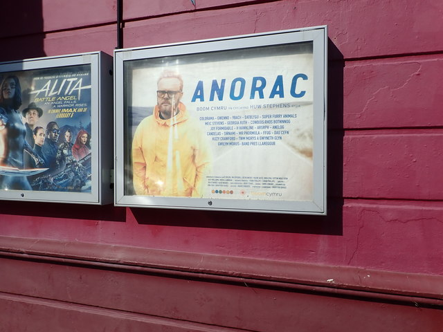 """Poster advertising """"Anorac"""" at Tywyn Cinema"""