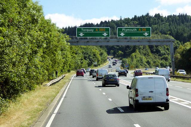Overhead Sign Gantry on the Devon Expressway (A38) near Kennford
