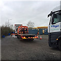 ST1920 : Truck wash queue, M5 southbound services, Taunton Deane by Robin Stott