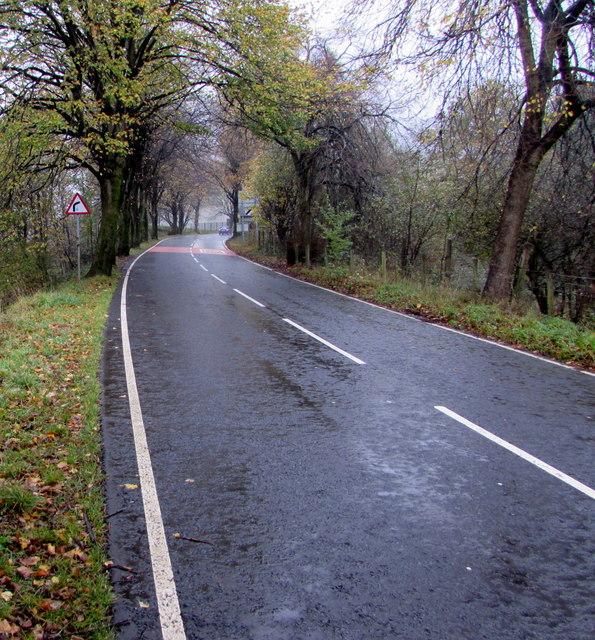 Towards a bend in Rhigos Road beyond Treherbert