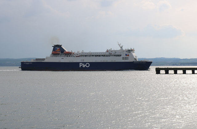 P&O Ferry passing the Old Pier at Cairnryan