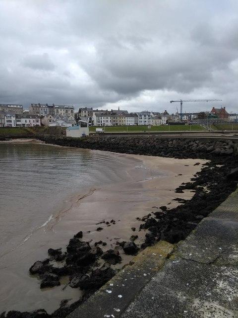 Portrush Harbour at low tide
