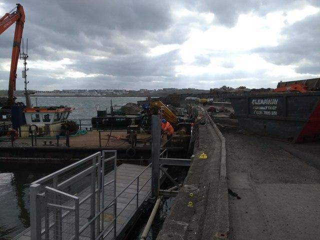 Dredger equipment in Portrush Harbour