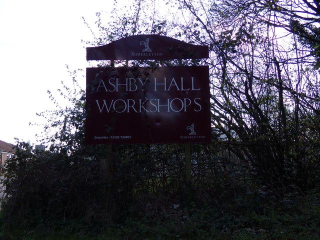 Ashby Hall Workshops sign