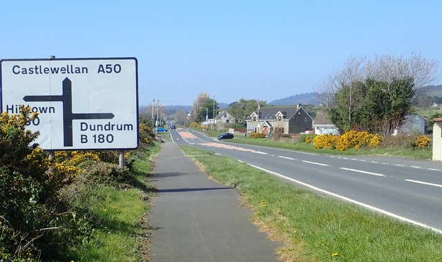 The staggered B180 cross roads on the A50 Castlewellan Road