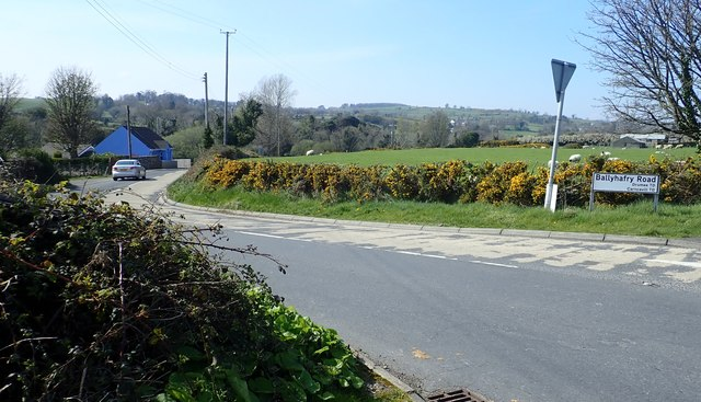 Ballyhafry Road (B180) from its junction with the A50