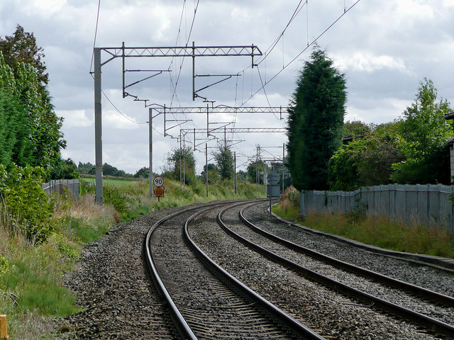 Railway line at Barlaston in Staffordshire