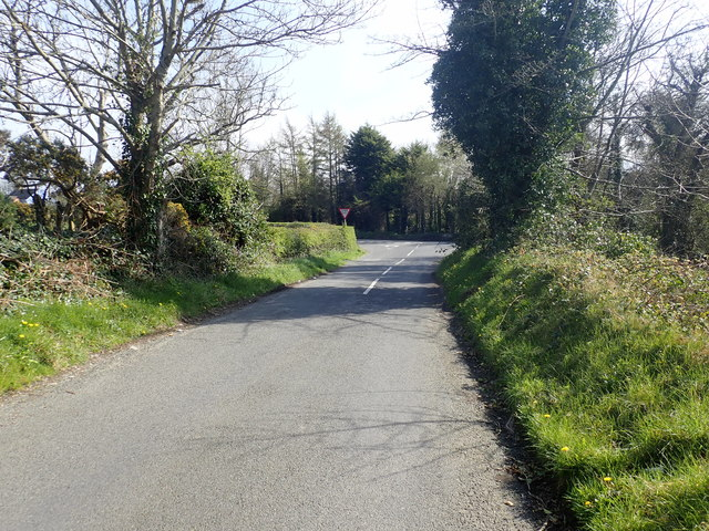 Sawmill Road approaching its junction with Ballyhafry Road (B180)