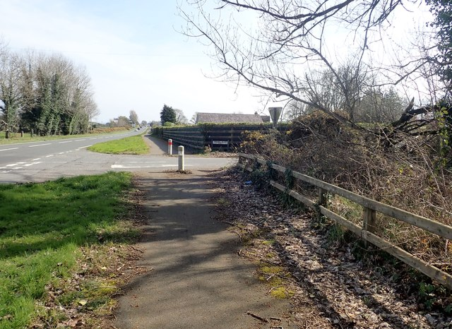 The entrance to Sawmill Road from the A50