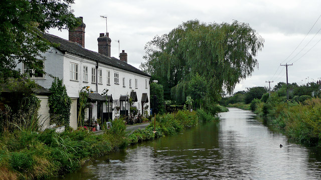 Canalside cottages near Barlaston in Staffordshire