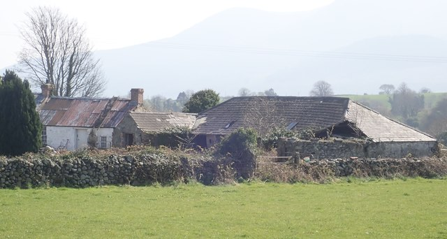 Derelict homestead with the Mournes in the background
