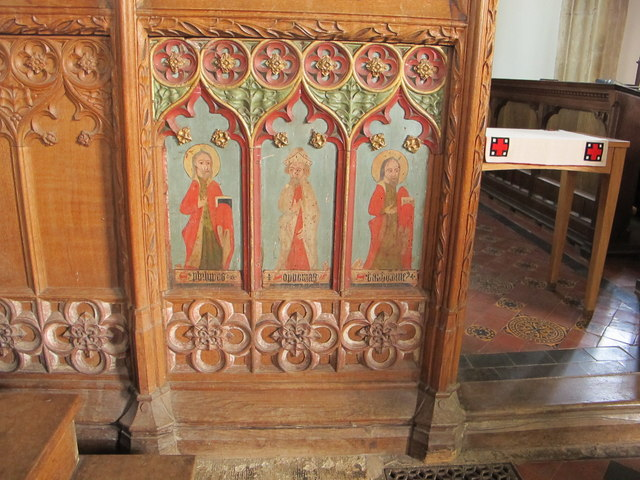 Painting of saints and prophet on rood screen, Stoke Gabriel