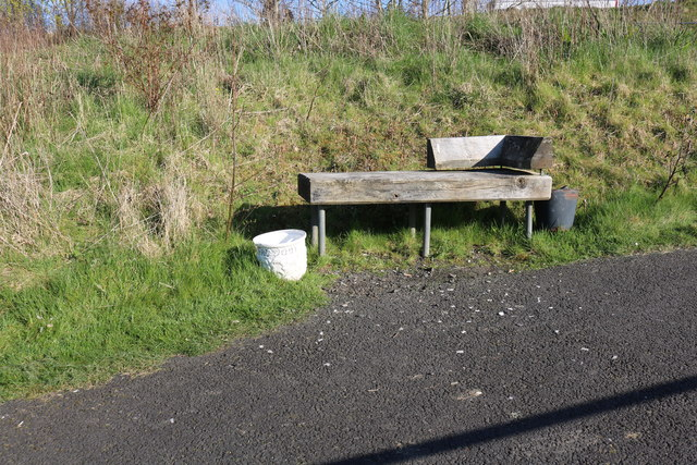 Seat by the Woodland Walk at Ayr Hospital