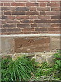 SP2490 : OS benchmark - Church End, barn on Shawbury Lane by Richard Law