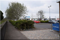 H4473 : Pathway along the flood wall, Sedan Retail Park, Omagh by Kenneth  Allen