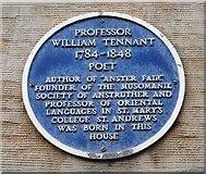 NO5603 : Blue plaque commemorating Professor William Tennant by Richard Sutcliffe