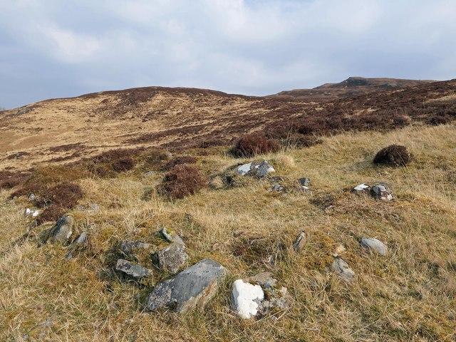 Building footings below Coire na Mòine, Ross and Cromarty