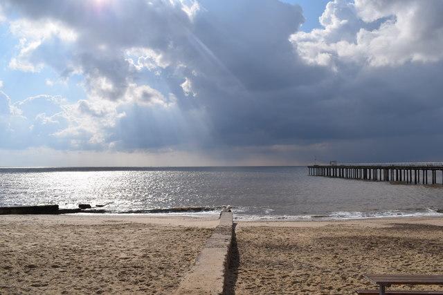 Felixstowe beach and the North Sea.