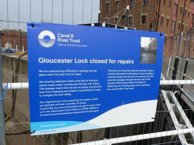 Gloucester Lock closed for repairs