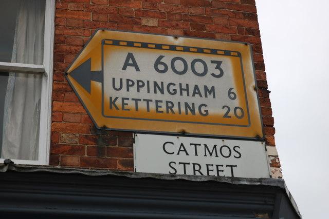 Pre-Worboys sign on Catmos Street, Oakham