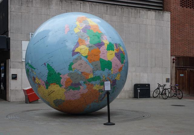 """World Turned Upside Down"" sculpture"