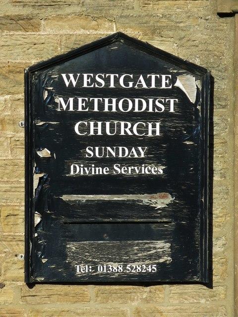 Noticeboard on Westgate Methodist Church