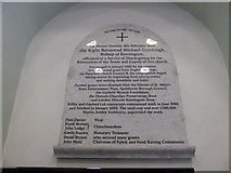 TQ1068 : St Mary, Sunbury-on-Thames: restoration plaque by Basher Eyre