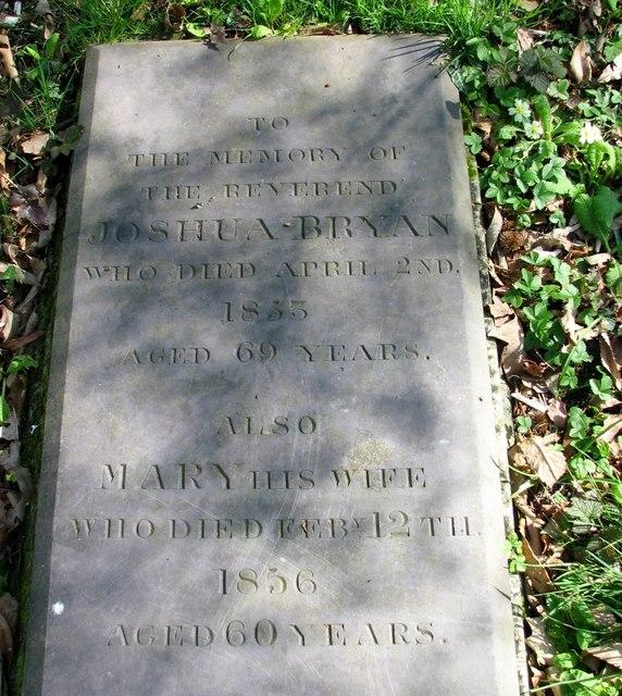 The grave of Reverend Joshua Bryan