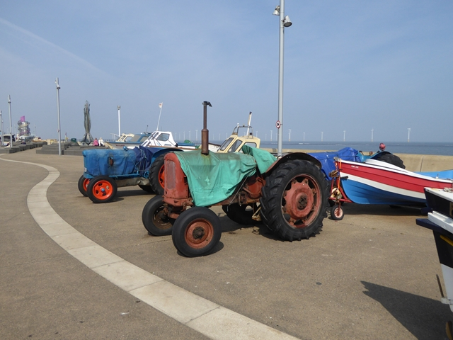 Tractors and fishing boats on Redcar seafront