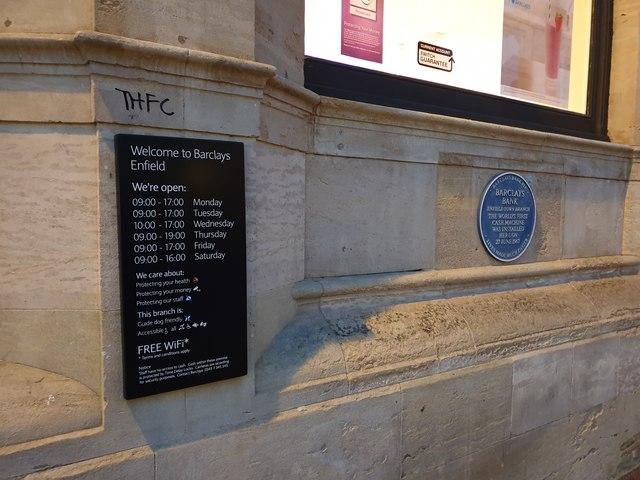 Blue Plaque, Barclays Bank, Enfield Town