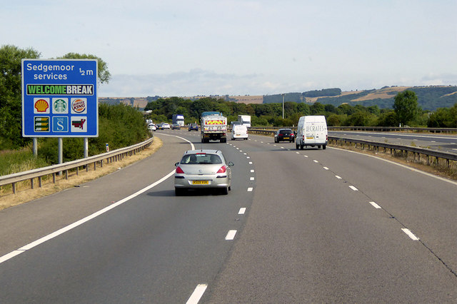 Northbound M5 near Sedgemoor Services