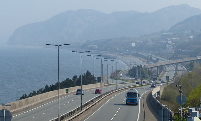 The A55 North Wales Expressway at Penmaenmawr