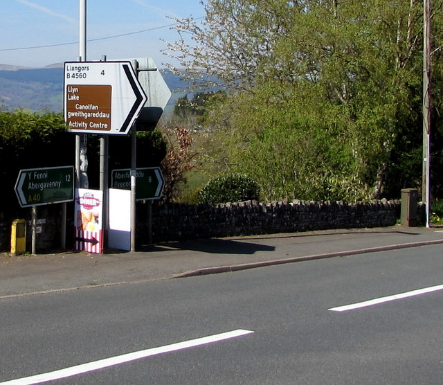 Llangors direction and distance sign in Bwlch, Powys