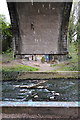 SP3677 : Underside of central arch, railway viaduct over the River Sowe, Willenhall, Coventry by Robin Stott