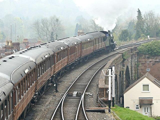 Steam train departing Bewdley Station