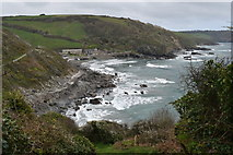 SW9541 : West Portholland Cove from the coast path by Simon Mortimer