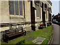 SU1868 : Wooden benches outside a former church, High Street, Marlborough by Jaggery