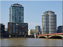 TQ3078 : Buildings on north bank by Vauxhall Bridge by Robin Webster