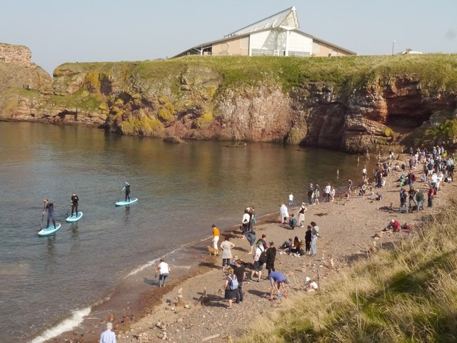 Paddle Boarders at the Eye Cave Beach Dunbar