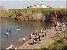 NT6779 : Paddle Boarders at the Eye Cave Beach Dunbar by Jennifer Petrie