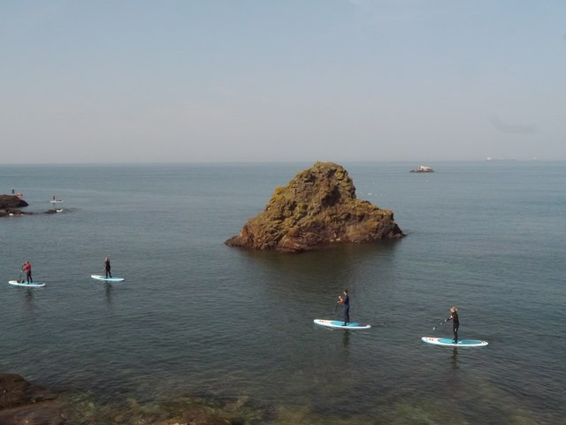 Paddle Boarders at Eye Cave Beach Dunbar
