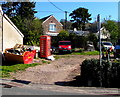 SO1422 : Red phonebox in Bwlch, Powys by Jaggery