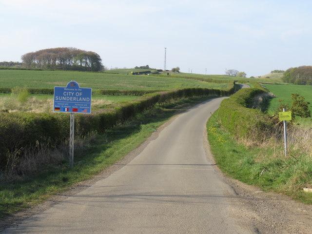 County boundary on Salter's Lane, near Seaham
